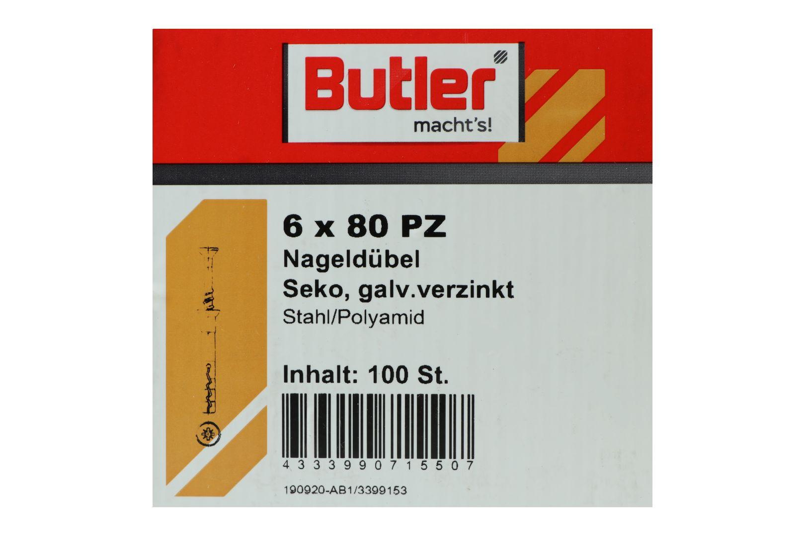 Butler macht's! Nageldübel, Stahl / Polyamid, Senkkopf, galvanisch verzinkt 6 x 80 mm, 100 Stück