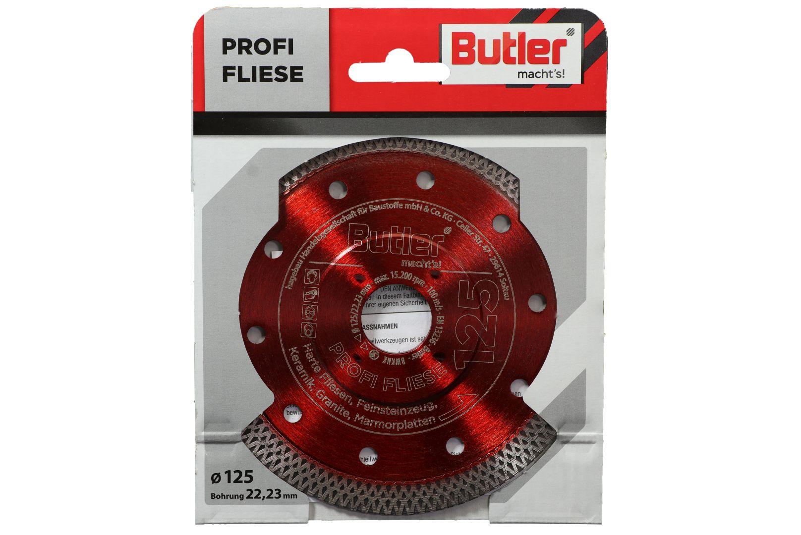 Butler macht's! Diamant-Trennscheibe Profi Fliese, Bohrung: 22,23 mm, Ø 125 mm