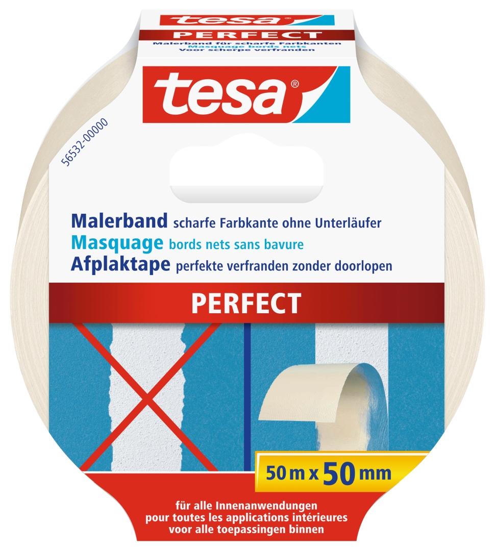 tesa PERFECT Malerkrepp, für scharfe Farbkanten, lösungsmittelfei, sehr reißfest, 50 m x 50 mm