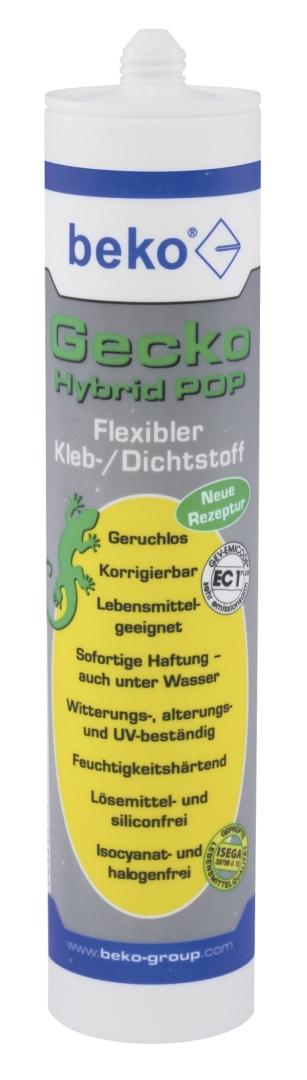 beko Gecko Hybrid Pop, flexibler 1K-Kleb-/Dichtstoff, grau, 310 ml