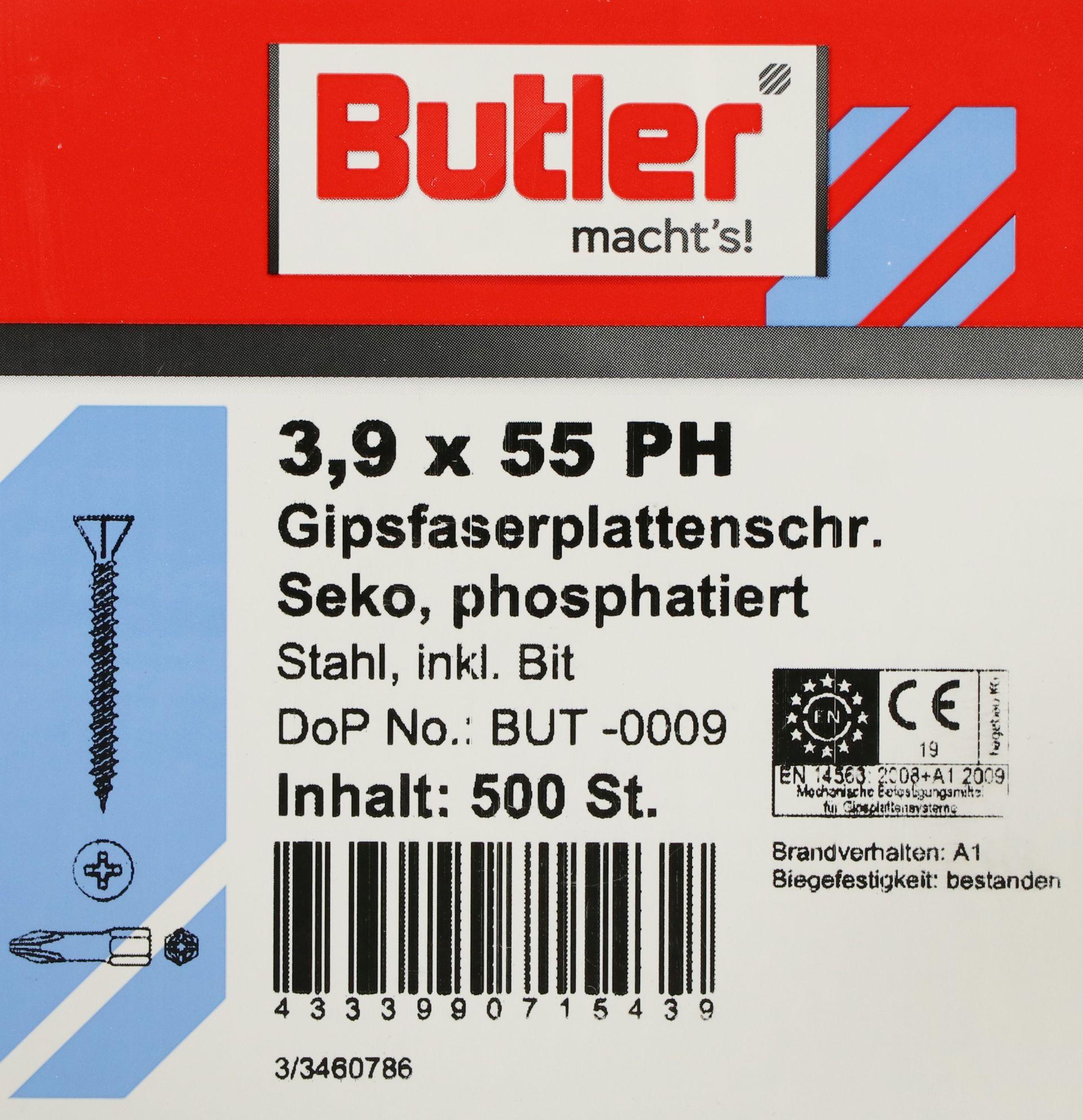 Butler macht's! Gipsfaserplattenschraube mit Bit, Stahl, Senkkopf, phosphatiert, 3,9 x 55 mm, 500 Stück