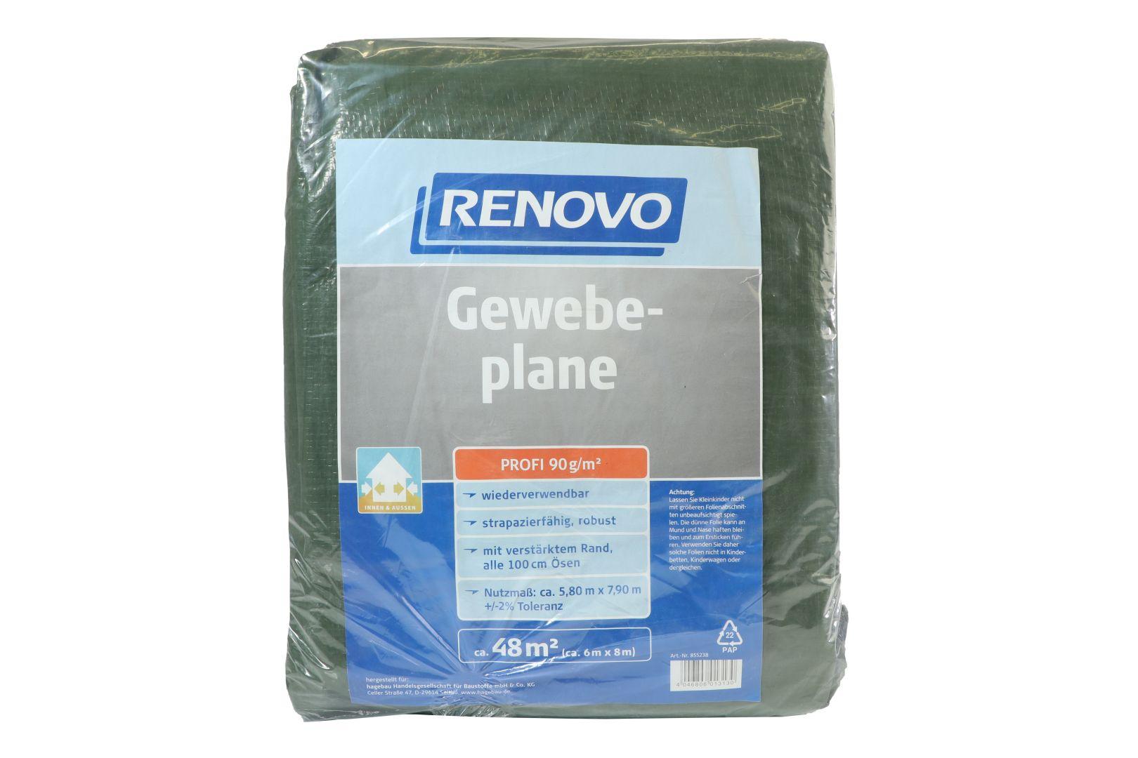 RENOVO Gewebeplane Profi, grün, mit Ösen, 6 x 8 m
