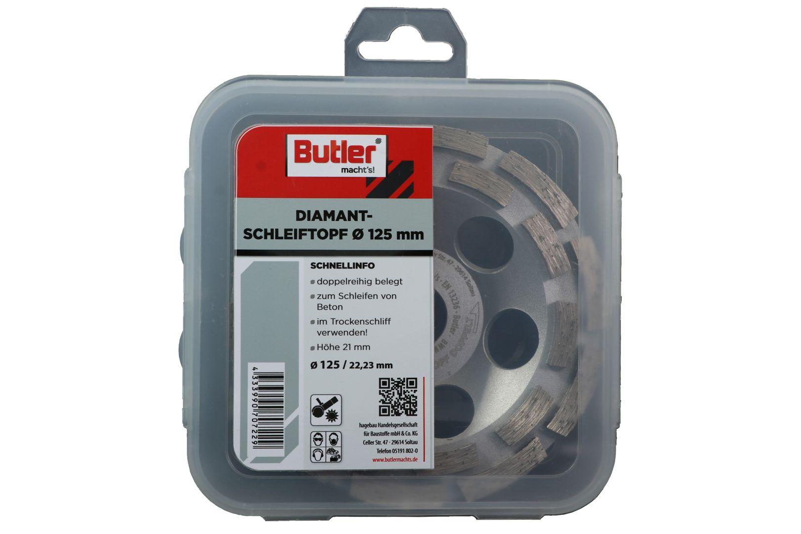 Butler macht's! Diamant-Schleiftopf, Schneidrand doppelt, Ø 125 mm