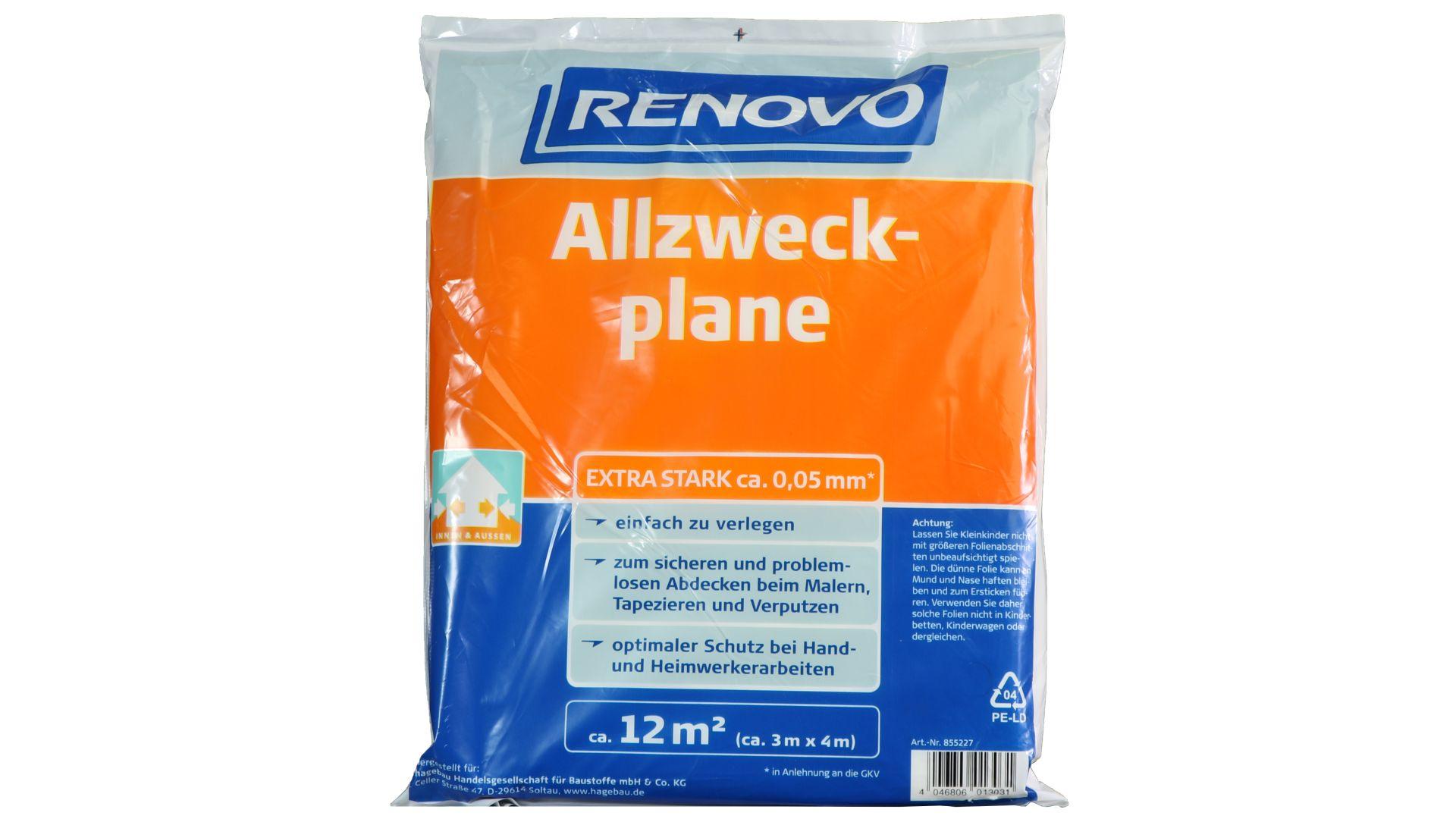 RENOVO Allzweckplane, effektiver Schutz, 4 x 3 m x 50 µm