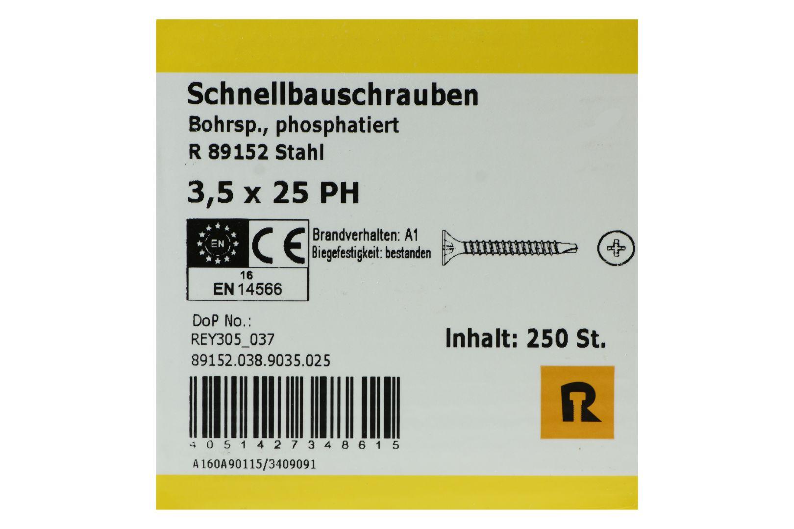 REYHER Schnellbauschrauben für Gipsplatten auf Metall 0,6 bis 2 mm, Bohrspitze, Feingewinde, PH2, 3,5 x 25 mm, 250 Stück