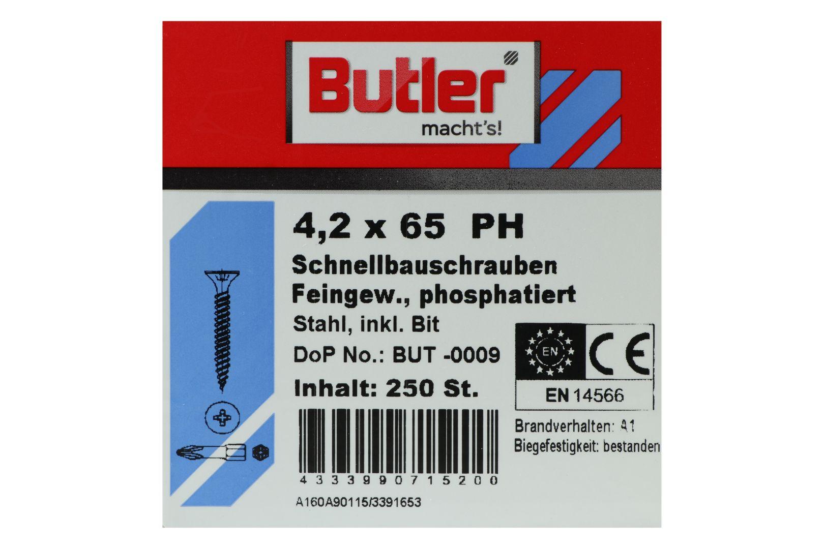 Butler macht's! Schnellbauschrauben inkl. Bit für Gipsplatten auf Metall bis 0,6 mm, Feingewinde, PH2, 4,2 x 65 mm, 250 Stück
