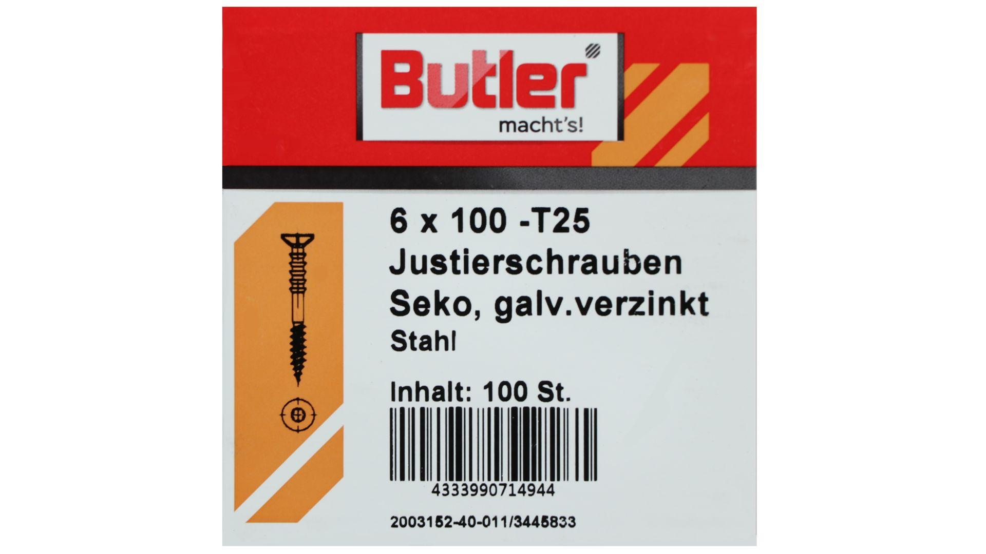 Butler macht's! Justierschraube, Stahl, Senkkopf, galvanisch verzinkt, T25, 6 x 100 mm, 100 Stück