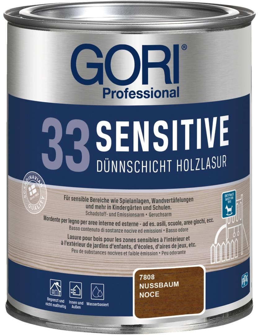 GORI Professional 33 SENSITIVE, Dünnschicht-Holzlasur, nussbaum, 0,75 l
