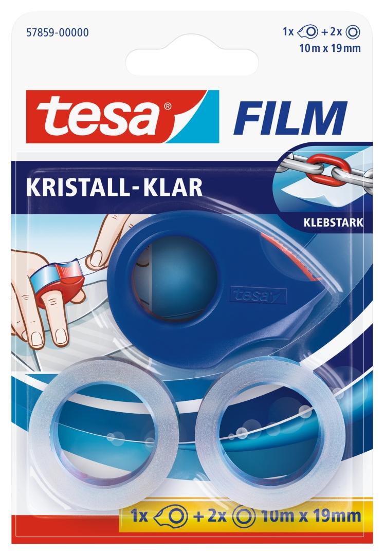 tesa tesafilm, Klebeband, kristall-klar, farblos, 2 Stück + Mini Abroller, 10 m x 19 mm