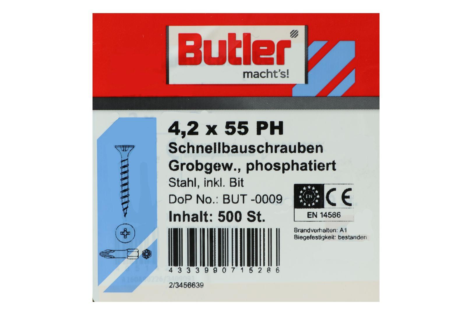 Butler macht's! Schnellbauschrauben inkl. Bit für Holz auf Holz, Grobgewinde, PH2, 4,2 x 55 mm, 500 Stück