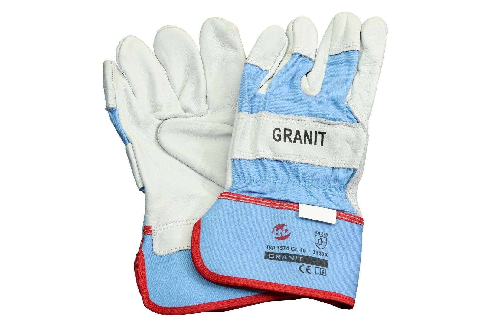 L+D Granit Rindnarbenleder-Handschuh, EN 388:2016, Größe 10, 12 Paar