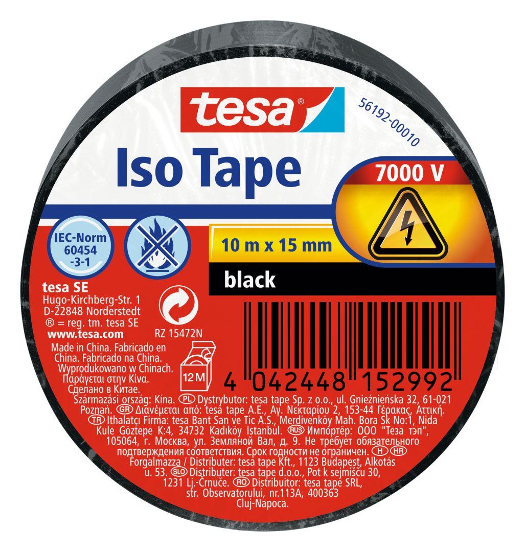 tesa Isolierband, Iso Tape, Abdichtband, Dichtungsband, Kabelklebeband, schwarz, 10 m x 15 mm