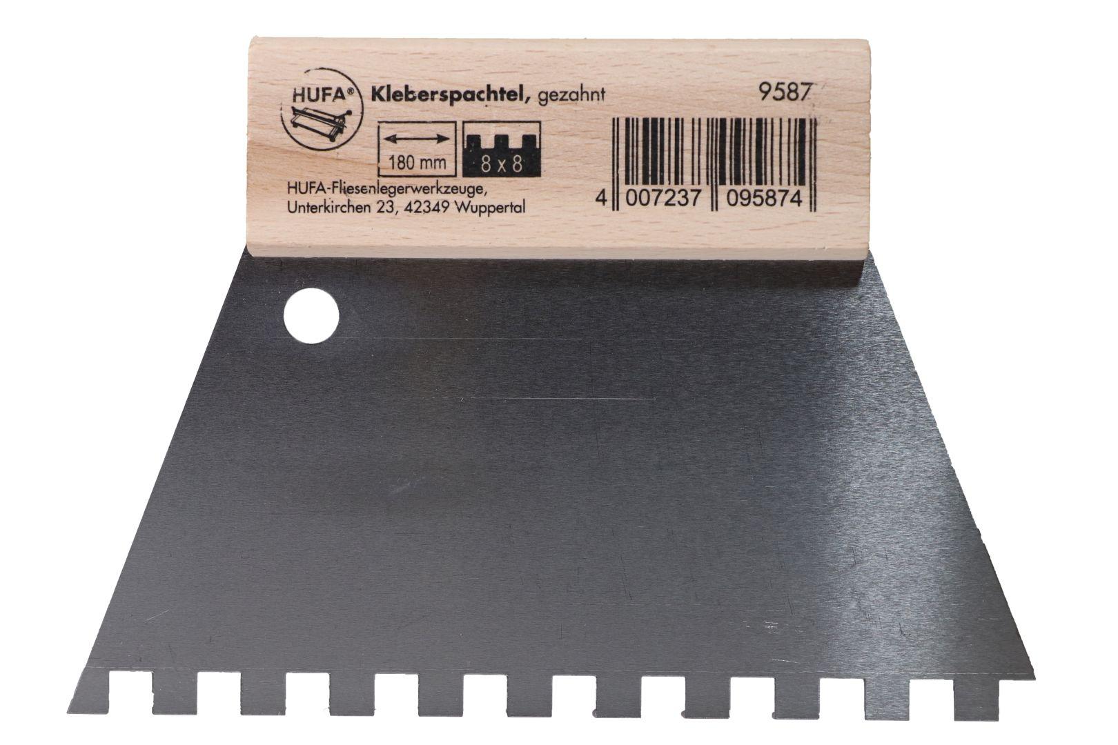 HUFA Leimspachtel, Klebespachtel, Kleberspachtel, Blattbreite 180 mm, Zahnung 8 x 8 mm
