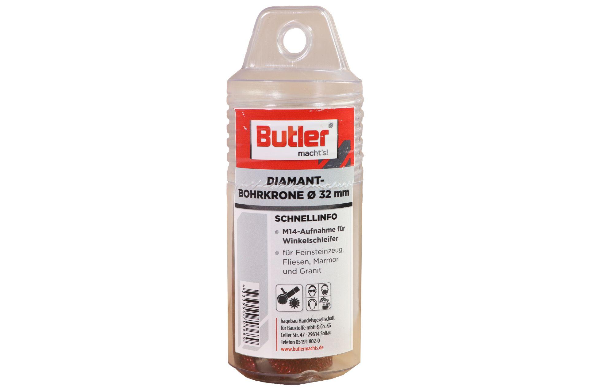 Butler macht's! Diamant-Bohrkrone, Ø 32 mm, Aufnahme M14, Bohrtiefe 45 mm