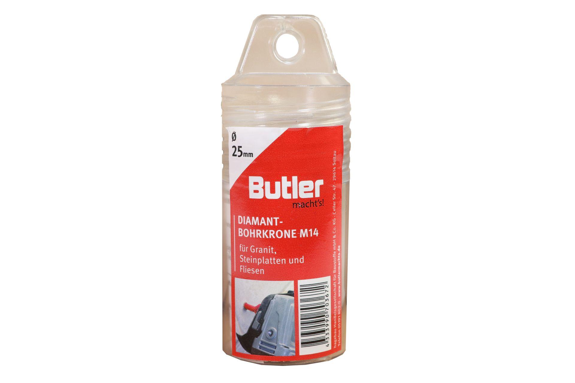 Butler macht's! Diamant-Bohrkrone, Ø 25 mm, Aufnahme M14, Bohrtiefe 45 mm