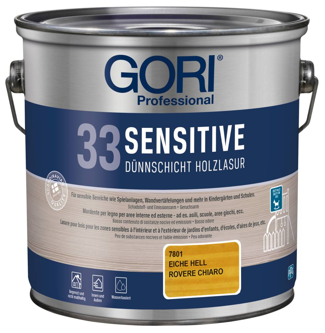 GORI Professional 33 SENSITIVE, Dünnschicht-Holzlasur, eiche hell, 2,5 l