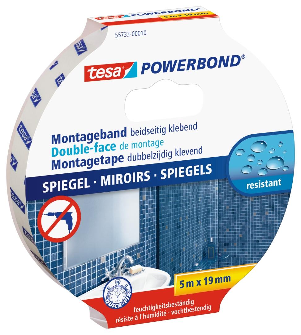tesa POWERBOND SPIEGEL, Montageband beidseitig klebend, feuchtigkeitsbeständig, 5 m x 19 mm