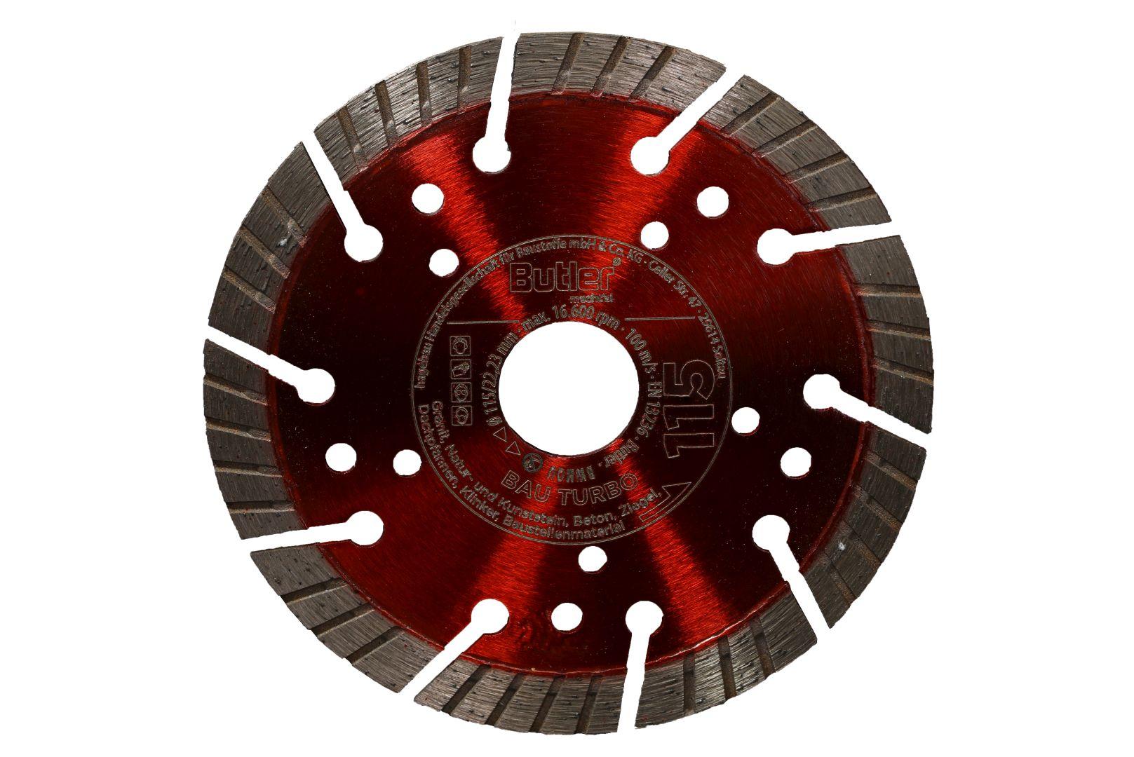 Butler macht's! Diamant-Trennscheibe Bau Turbo, Bohrung: 22,23 mm, Ø 115 mm