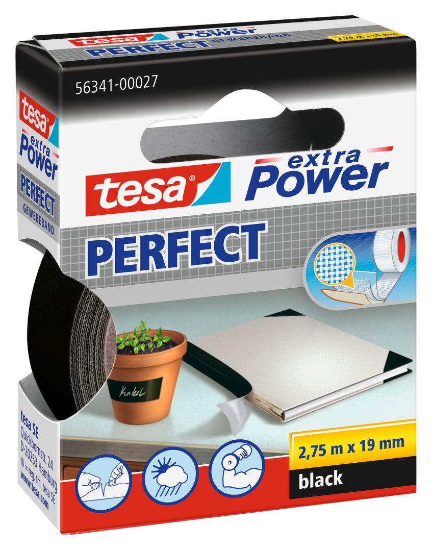tesa extra Power PERFECT, Gewebeband, schwarz, 2,75 m x 19 mm