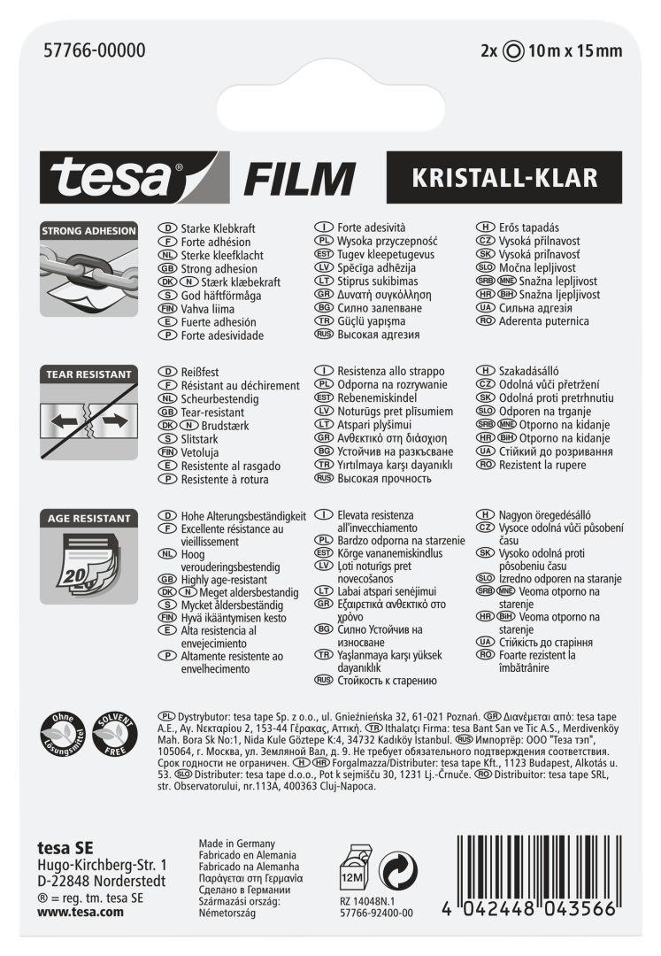 tesa tesafilm, Klebeband, kristall-klar,  farblos, 2 Stück, 10 m x 15 mm