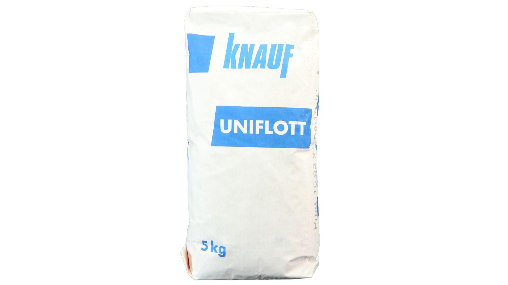 Knauf Uniflott, Spachtelmasse zur Grundverspachtelung von Gipsplattenfugen, Wand und Decke, Wohnraum, 5 kg