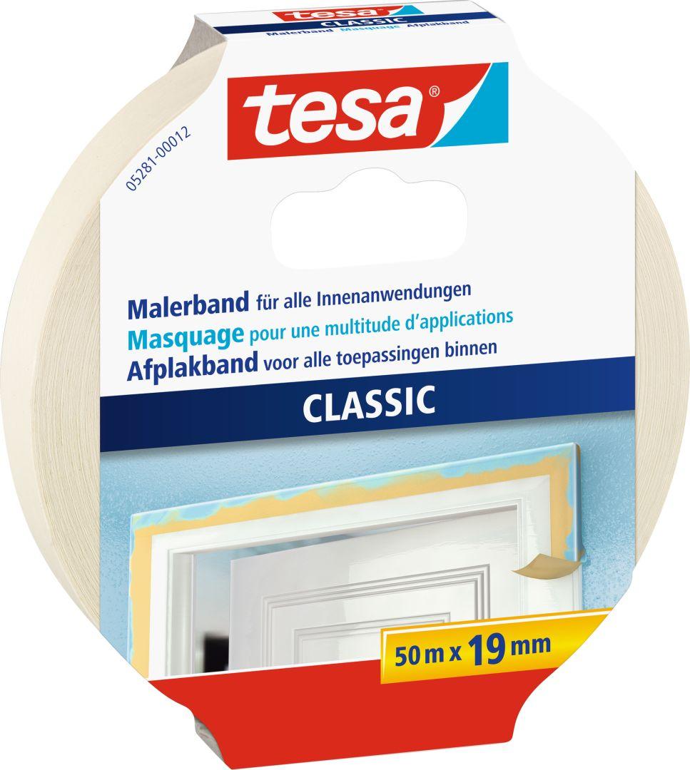 tesa CLASSIC Malerband, Kreppband, Klebeband, beige, lösungsmittelfrei, 50 m x 19 mm