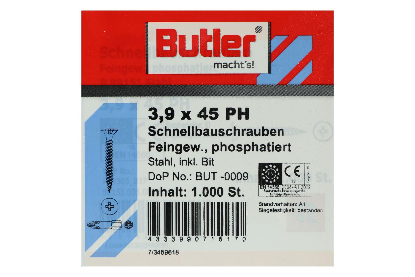 Butler macht's! Schnellbauschrauben inkl. Bit für Gipsplatten auf Metall bis 0,6 mm, Feingewinde, PH2, 3,9 x 45 mm, 1.000 Stück