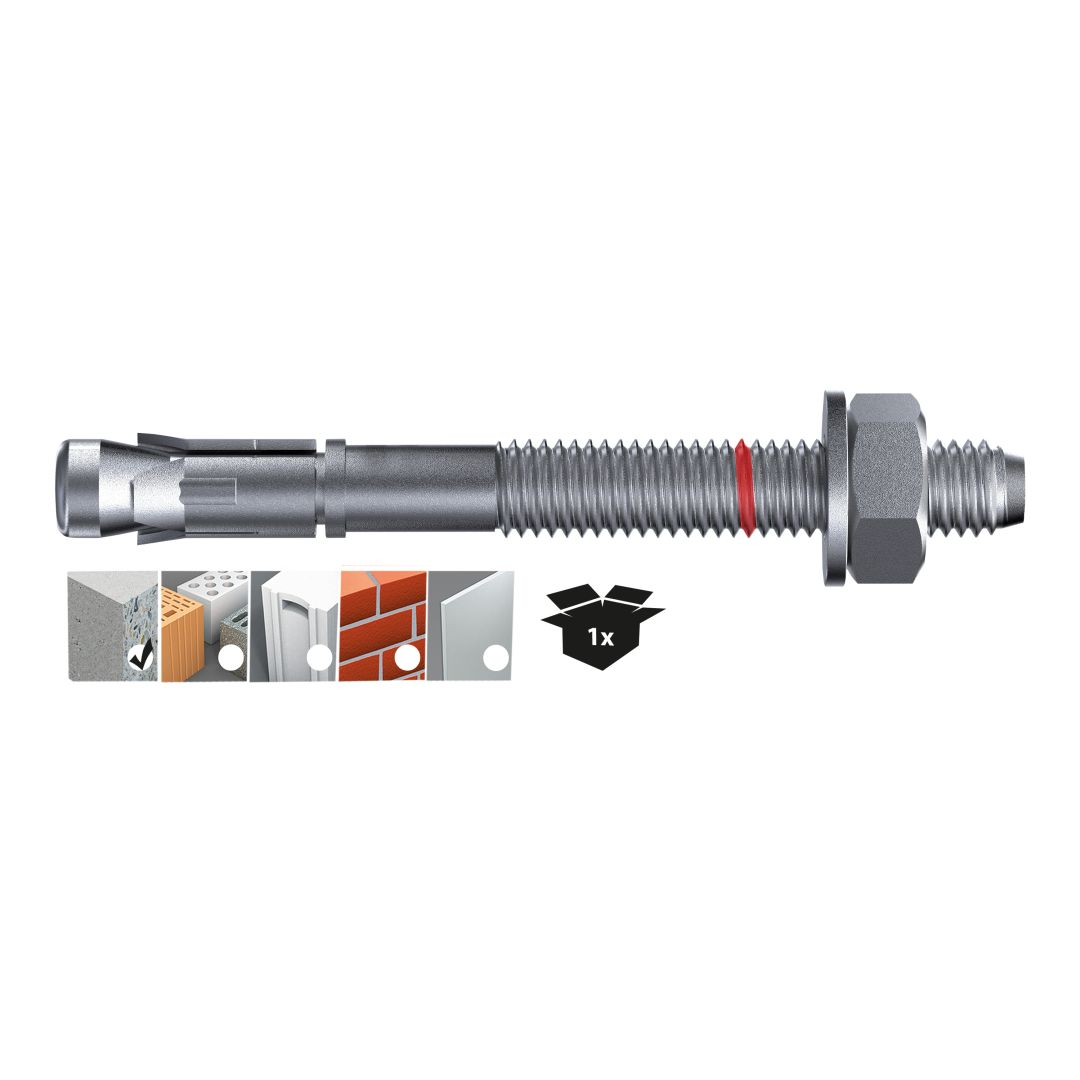 TOX Bolzenanker S-Fix Plus, verzinkt, M10 x 80/13, 50 Stück