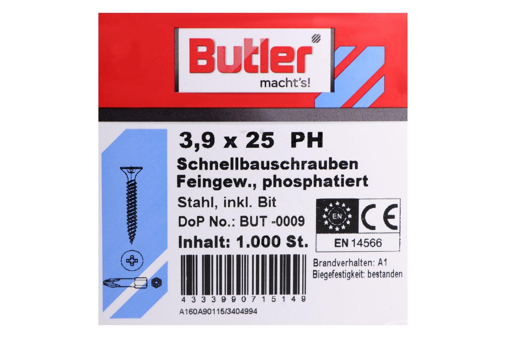 Butler macht's! Schnellbauschrauben inkl. Bit für Gipsplatten auf Metall bis 0,6 mm, Feingewinde, PH2, 3,9 x 25 mm, 1.000 Stück